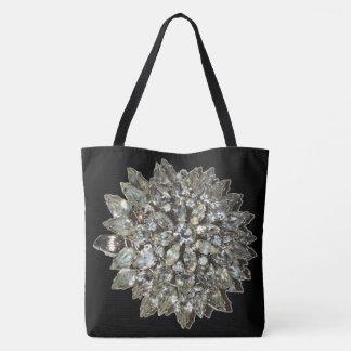 Vintage Rhinestone Diamond Bling Pattern Black Tote Bag