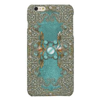 Vintage rhinestone gems etching girls matte iPhone 6 plus case
