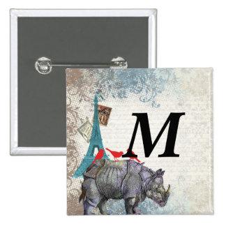 Vintage rhino 2 inch square button