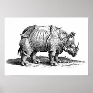 Vintage Rhino - Dürer's Rhinoceros Poster