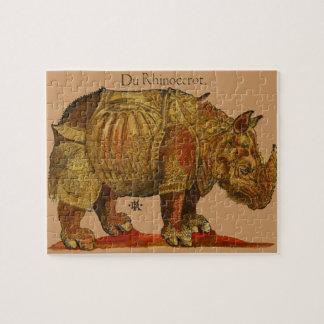 Vintage Rhino Woodcut Print - Durer s Rhinoceros Jigsaw Puzzles