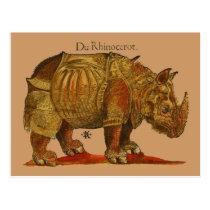Vintage Rhino Woodcut Print - Durer's Rhinoceros Postcard