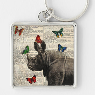 Vintage Rhinoceros Butterflies Dictionary Page Silver-Colored Square Keychain