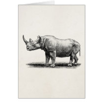 Vintage Rhinoceros Illustration Rhino Rhinos