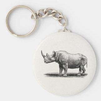 Vintage Rhinoceros Illustration Rhino Rhinos Basic Round Button Keychain