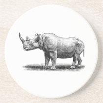 Vintage Rhinoceros Illustration Rhino Rhinos Drink Coaster