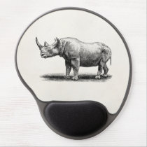 Vintage Rhinoceros Illustration Rhino Rhinos Gel Mouse Pad