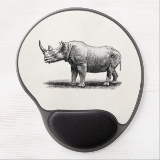 Vintage Rhinoceros Illustration Rhino Rhinos Gel Mouse Pad