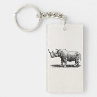 Vintage Rhinoceros Illustration Rhino Rhinos Keychain