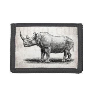 Vintage Rhinoceros Illustration Rhino Rhinos Trifold Wallets