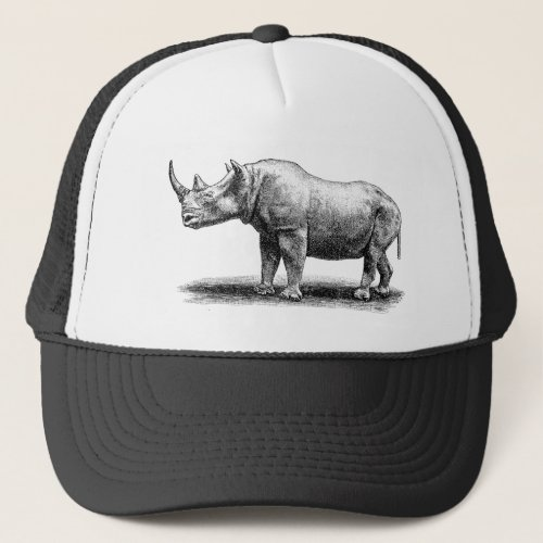Vintage Rhinoceros Illustration Rhino Rhinos Trucker Hat