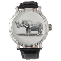 Vintage Rhinoceros Illustration Rhino Rhinos Watch
