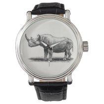 Vintage Rhinoceros Illustration Rhino Rhinos Wristwatches