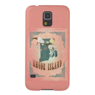 Vintage Rhode Island State Map- Pastel Peach Galaxy S5 Cases