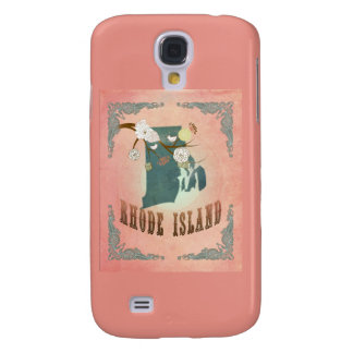 Vintage Rhode Island State Map- Pastel Peach Galaxy S4 Covers