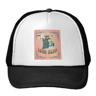 Vintage Rhode Island State Map- Pastel Peach Trucker Hat
