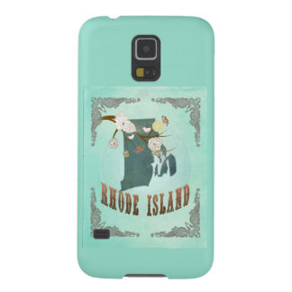 Vintage Rhode Island State Map – Turquoise Blue Galaxy S5 Covers