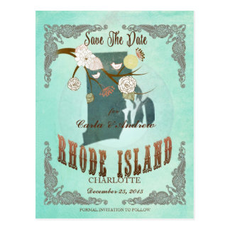 Vintage Rhode Island State Map – Turquoise Blue Postcard
