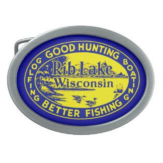 Vintage Rib Lake Wisconsin Belt Buckle