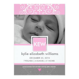 Vintage ribbon baby girl card
