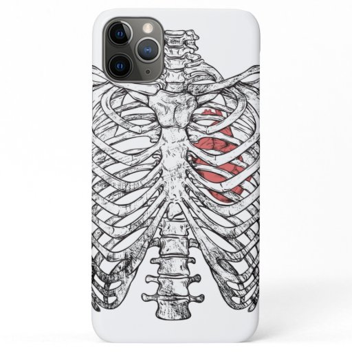 Vintage Ribcage & Heart Anatomy Halloween iPhone 11 Pro Max Case