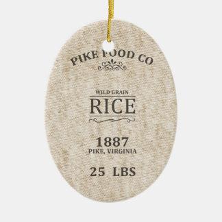 Vintage Rice Sack Ceramic Ornament