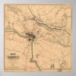 Vintage Richmond VA Rebel Defense Map (1864) Poster