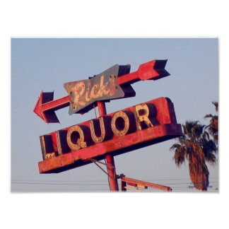 Vintage Ricks Liquor Sign Print
