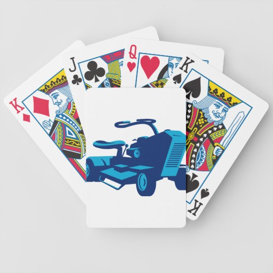 vintage ride on lawn mower retro bicycle playing cards