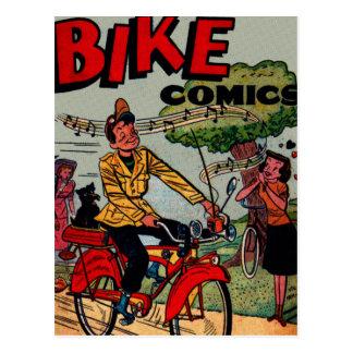 Vintage Riding His Bike With Radio Postcard