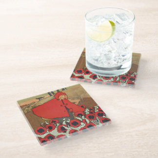 Vintage Riding Hood Wearing Cape Picking Poppies Glass Coaster