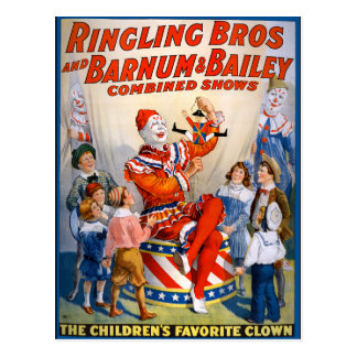 Vintage Ringling Bros - Barnum & Bailey Clown Show Postcard