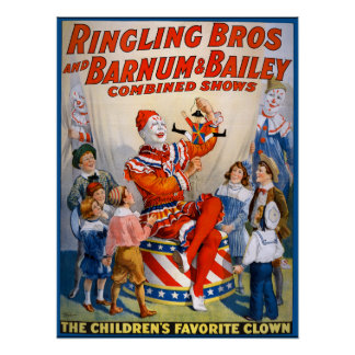 Vintage Ringling Bros - Barnum & Bailey Clown Show Poster