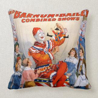 Vintage Ringling Bros - Barnum & Bailey Clown Show Throw Pillow
