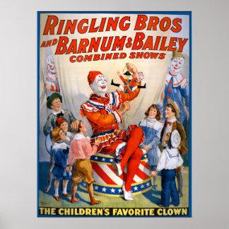 Vintage Ringling Bros - Barnum y demostración del Póster