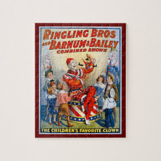 Vintage Ringling Brothers Clown Circus Poster Kids Jigsaw Puzzle