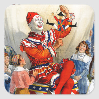 Vintage Ringling Brothers Clown Circus Poster Kids Square Sticker
