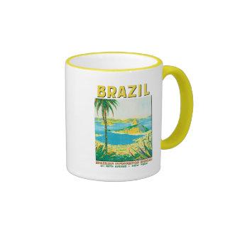 Vintage Rio Brazil Travel Poster Ringer Mug