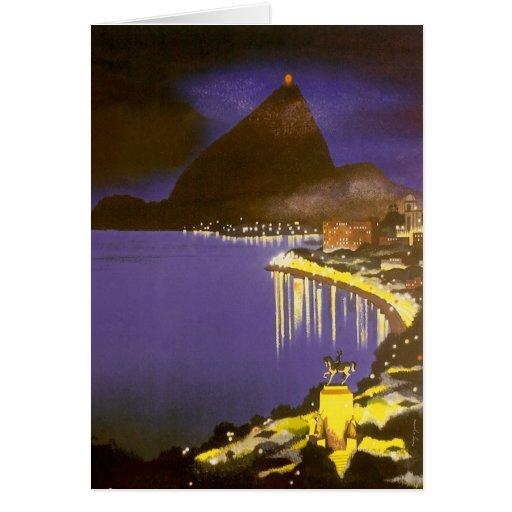 Vintage Rio De Janeiro at Night Cards