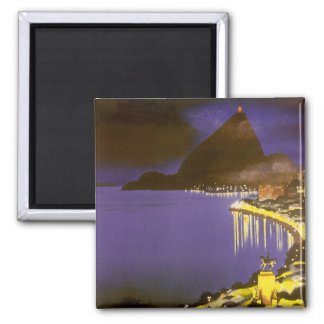 Vintage Rio De Janeiro at Night 2 Inch Square Magnet