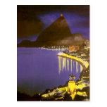 Vintage Rio De Janeiro at Night Post Card