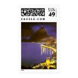 Vintage Rio De Janeiro at Night Stamp