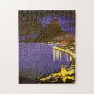 Vintage Rio De Janeiro, Brazil at Night Puzzles
