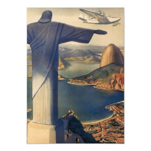 Vintage Rio De Janeiro, Christ the Redeemer Statue 5x7 Paper Invitation Card