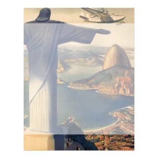 "Vintage Rio De Janeiro, Christ the Redeemer Statue 8.5"" X 11"" Flyer"