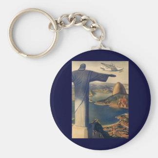 Vintage Rio De Janeiro, Christ the Redeemer Statue Basic Round Button Keychain