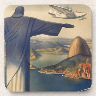 Vintage Rio De Janeiro, Christ the Redeemer Statue Drink Coaster