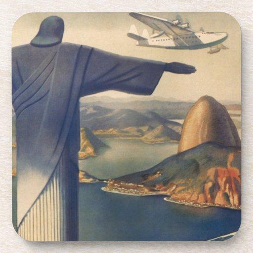 Vintage Rio De Janeiro, Christ the Redeemer Statue Drink Coasters