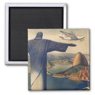 Vintage Rio De Janeiro, Christ the Redeemer Statue 2 Inch Square Magnet