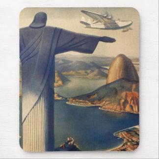 Vintage Rio De Janeiro, Christ the Redeemer Statue Mouse Pad